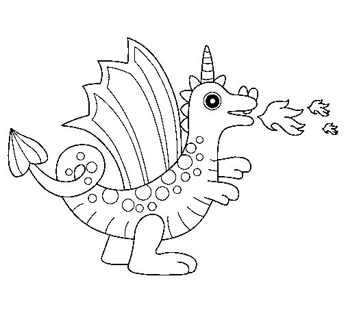 Desenho de Dragão alegre II para Colorir - Colorir.com