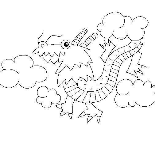 Desenho de Dragão chinês para Colorir