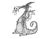 Desenho de Dragão com fumaça para colorear