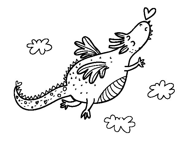 Desenho de Dragão com um coração para Colorir