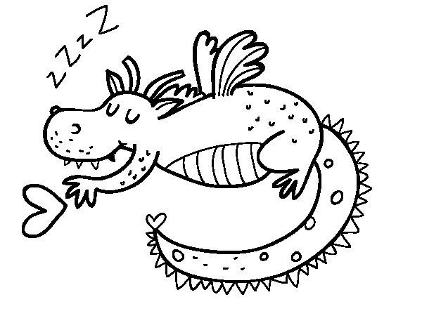 Desenho de Dragão infantil dormindo para Colorir