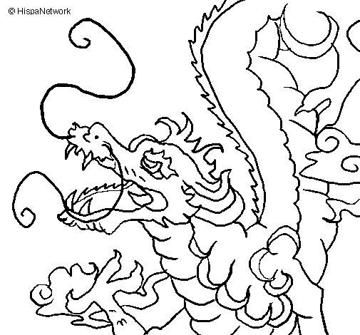 Desenho de Dragão japonês para Colorir