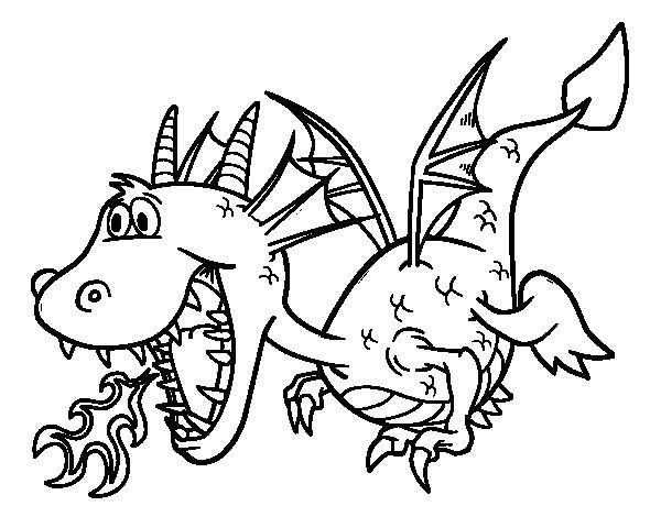 Desenho de Dragão que cospe fogo para Colorir