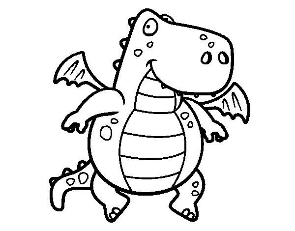 Desenho de Dragão voador para Colorir