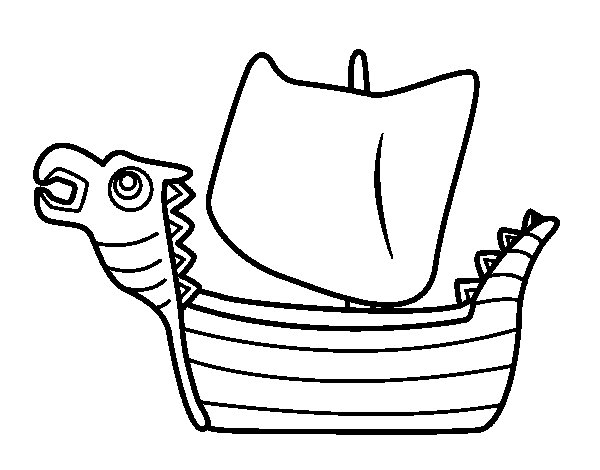 Desenho de Drakken, barco viking para Colorir