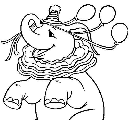 Desenho de Elefante com 3 balões para Colorir
