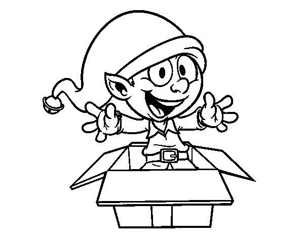 Desenho de Elf deixando um presente para Colorir