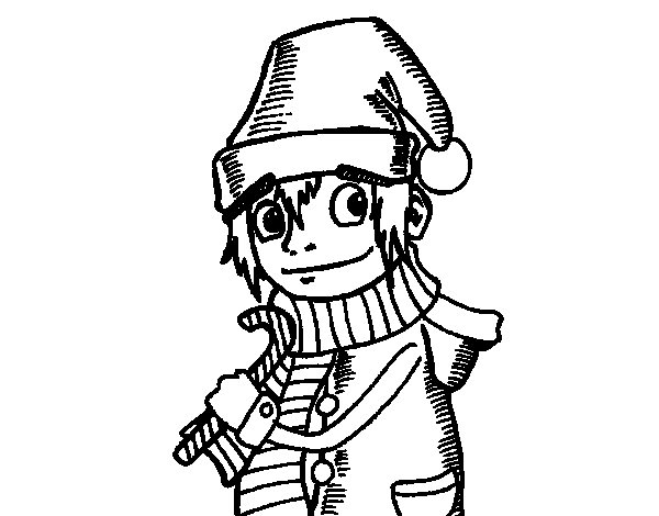 Desenho de Elfo de natal para Colorir