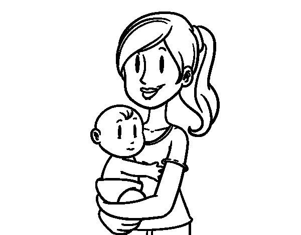 Desenho de Em braços da mãe para Colorir