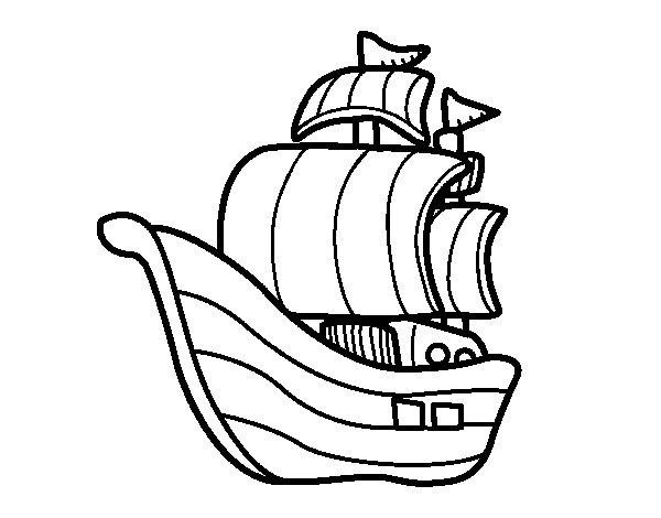 Desenho de Embarcação piratas para Colorir