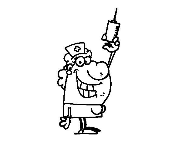 Desenho de Enfermeira com uma agulha para Colorir