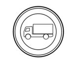 Desenho de  Entrada proibida de veículos para transporte de mercadorias para colorear