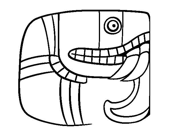 Desenho de Escrita maia para Colorir