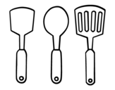 Desenho de espátulas de cozinha para colorear