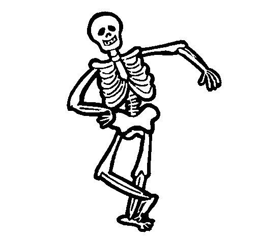 Desenho de Esqueleto contente para Colorir