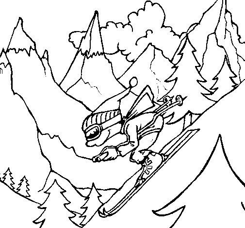 Desenho de Esquiador para Colorir