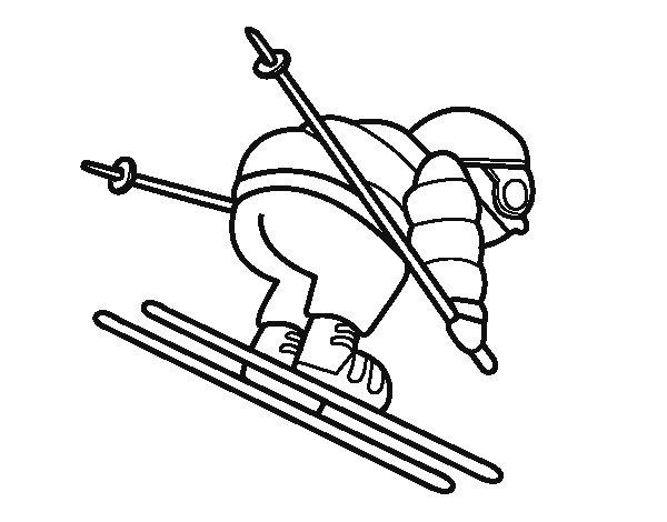 Desenho de Esquiador experiente para Colorir