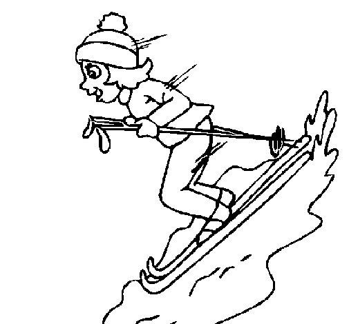 Desenho de Esquiadora para Colorir