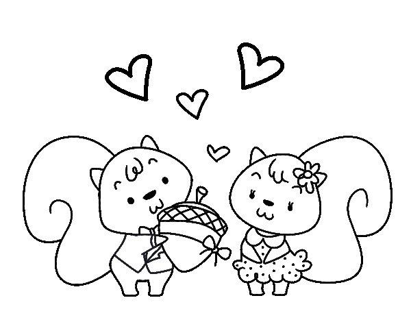 Desenho de Esquilos apaixonadas para Colorir