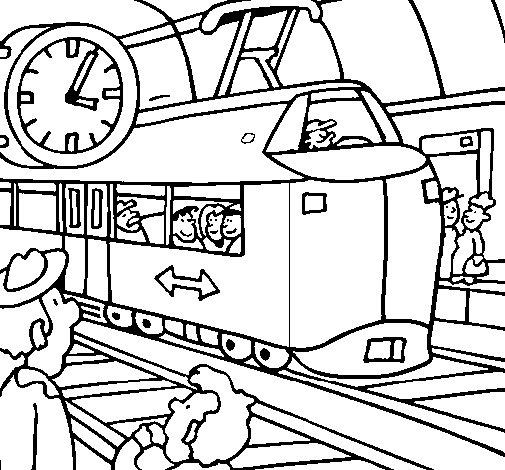 Desenho de Estação de caminhos de ferro para Colorir