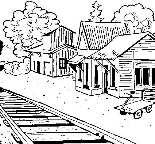 Desenho de Estação de comboio para Colorir
