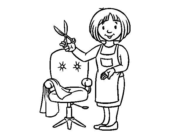 Desenho de Estilista cabeleireira para Colorir