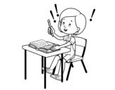 Desenho de Exame da escola para colorear
