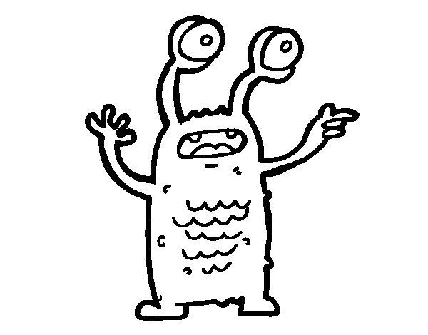 Desenho de Extraterrestre com os olhos esbugalhados para Colorir