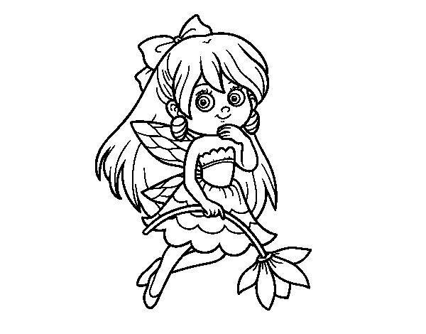 Desenho de fada da flor para colorir - Dibujos de hadas infantiles para imprimir ...