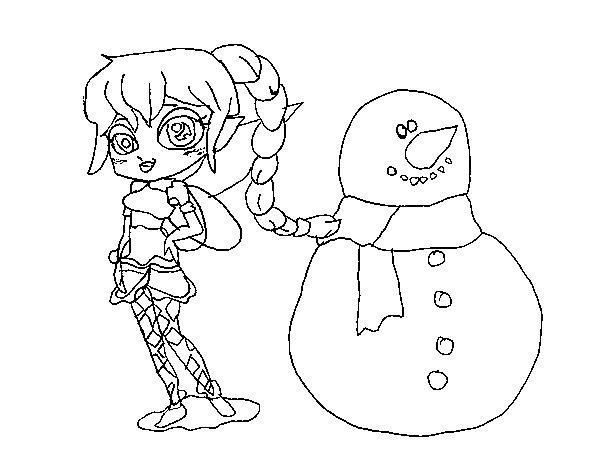 Desenho de Fada da neve para Colorir