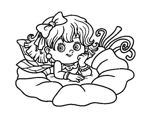 Desenho de Fada em uma flor para Colorir