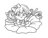 Desenho de Fada em uma flor para colorear