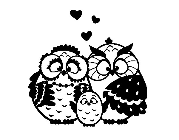 Desenho de Família coruja para Colorir