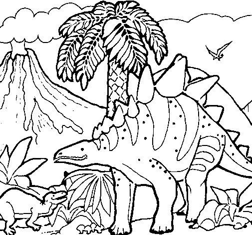 Desenho de Família de Tuojiangossauros para Colorir