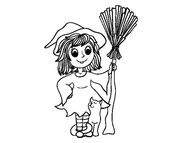 Desenho de Fantasia de bruxa de Halloween para Colorir