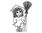 Desenho de Fantasia de bruxa de Halloween para colorear