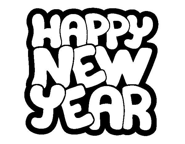 Desenho De Feliz Ano Novo Para Colorir
