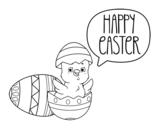 Desenho de Feliz dia de Páscoa para colorear