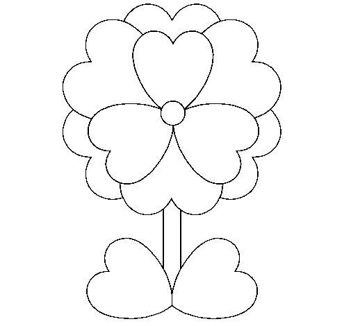 Desenho de Flor de corações para Colorir