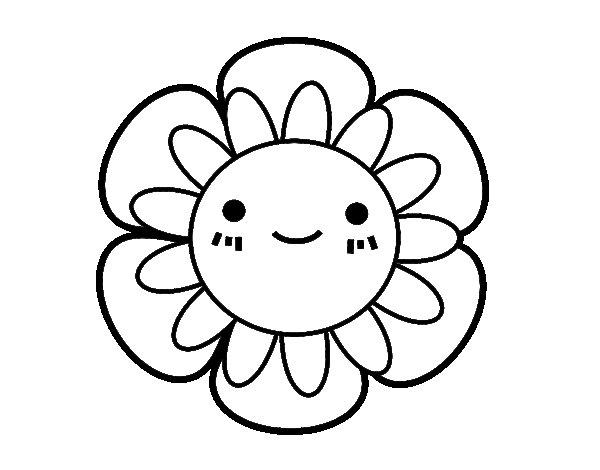 Desenho de Flor infantil para Colorir