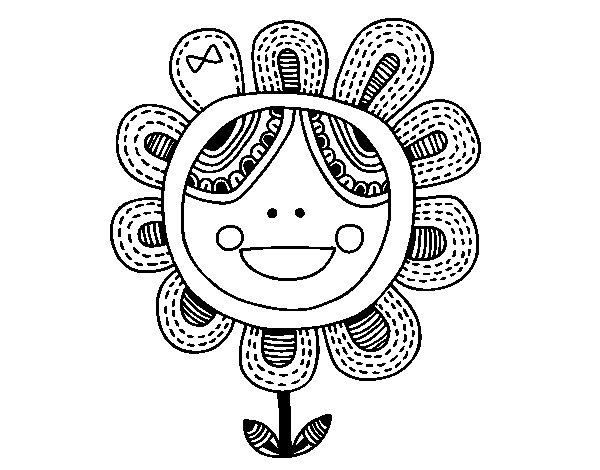 Desenho de Flor patchwork para Colorir