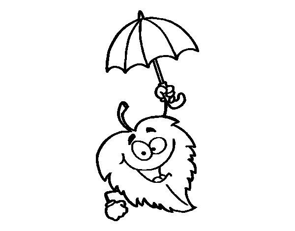 Desenho de Folha com chapéu de chuva para Colorir