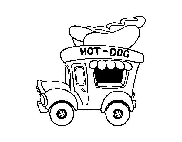 Desenho de Food truck de Cachorro-quente para Colorir