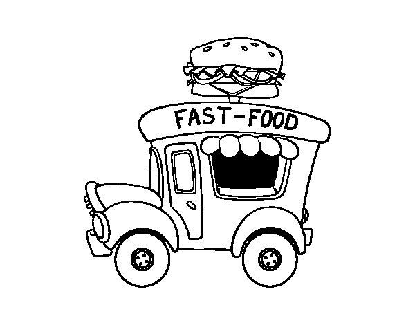 Desenho de Food truck de hambúrgueres para Colorir