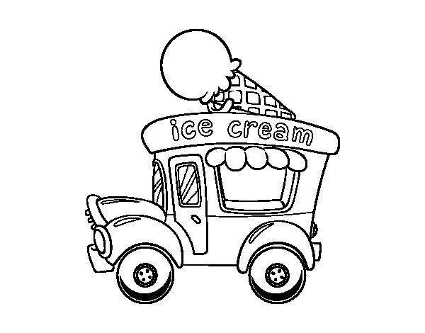 Desenho de Food truck de sorvete para Colorir