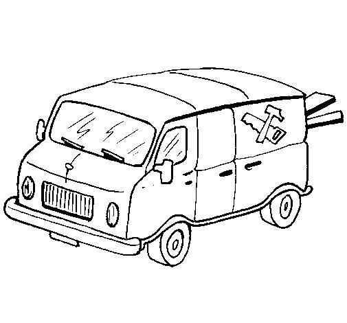 Desenho de Furgoneta de carpinteiro para Colorir