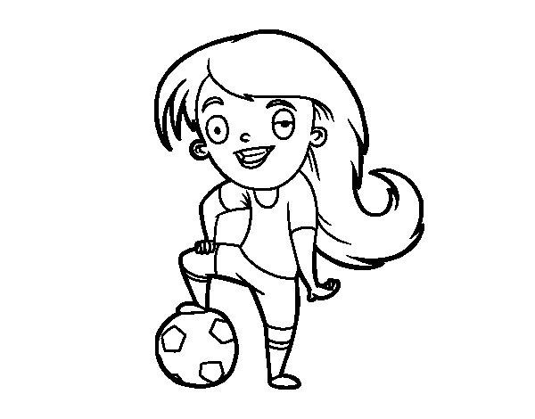 Crianças Que Jogam O Futebol Nos Desenhos Animados Do: Desenho De Futebol Feminino Para Colorir