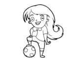Desenho de Futebol feminino para colorear
