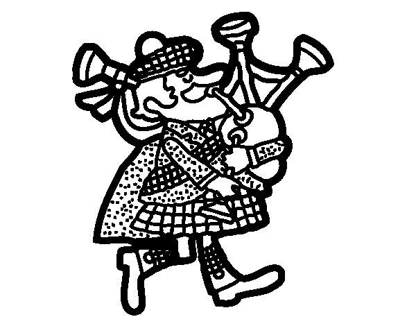 Desenho de Gaiteiro escocês para Colorir