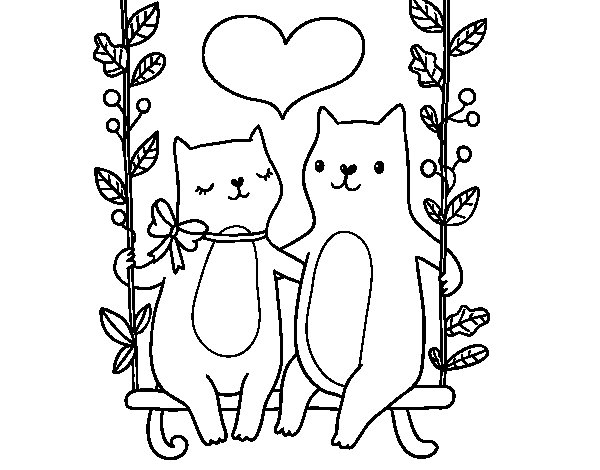 Desenho de Gatinhos apaixonados para Colorir